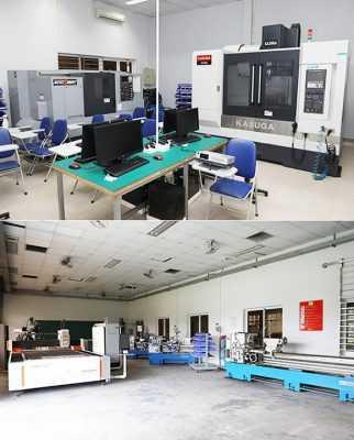 Xưởng cơ khí với các máy tiện, máy cắt laser tại Trường ĐH Duy Tân